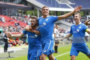 HANOVER, GERMANY - JUNE 22:  Goalgetter Bahadir Oezkan and Grischa Proemel of Hoffenheim jubilation after 1:0 during the A Juniors Bundesliga Final between Hannover 96 and 1899 Hoffenheim at HDI-Arena on June 22, 2014 in Hannover, Germany.  (Photo by Joachim Sielski/Bongarts/Getty Images)